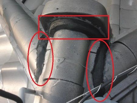 和型瓦・棟接合部 春日部市 用の漆喰でしっかりと接合します。 修理 補修